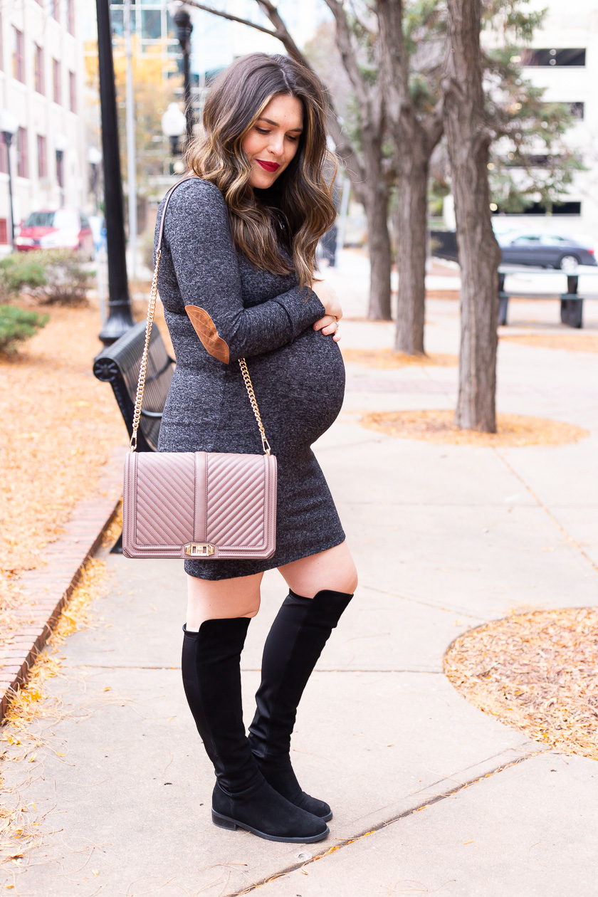 baby bump holiday maternity dress chain crossbody bag over the knee boots